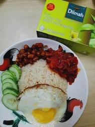 Vegetarian Green Tea and  Lemongrass Rice, Inspired by Malaysian Nasi Lemak