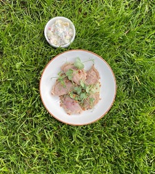 Green Tea Spring Dumplings With Vegetables Side Salad And Kefir Based Green Tea Sauce